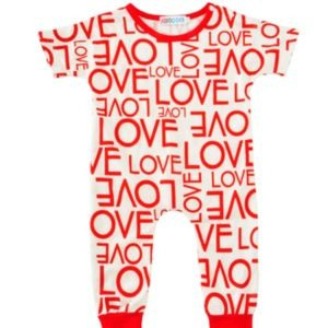 """Other - HP """"Love"""" red and white baby outfit."""
